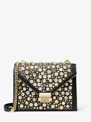 마이클 마이클 코어스 Michael Michael Kors Whitney Large Embellished Leather Convertible Shoulder Bag,BLACK/GOLD