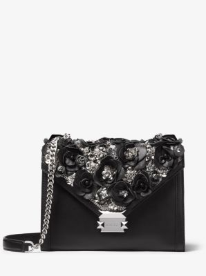 마이클 마이클 코어스 Michael Michael Kors Whitney Large Floral Embellished Leather Convertible Shoulder Bag,BLACK