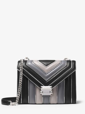 마이클 마이클 코어스 휘트니백 라지 트리컬러 블랙 Michael Michael Kors Whitney Large Quilted Tri-Color Leather Convertible Shoulder Bag, BLACK COMBO, 30H8GWHL7K