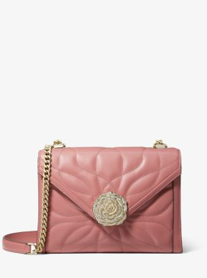 마이클 마이클 코어스 Michael Michael Kors Whitney Large Petal Quilted Leather Convertible Shoulder Bag,ROSE