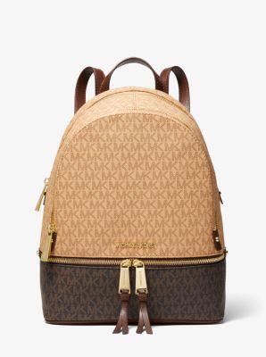 마이클 마이클 코어스 Michael Michael Kors nRhea Medium Two-Tone Logo and Leather Backpack,BRN/MOCHA