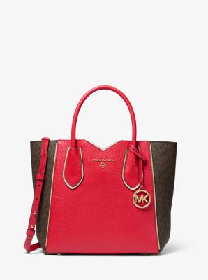 마이클 마이클 코어스 Michael Michael Kors Mae Medium Pebbled Leather and Logo Messenger Bag,BRIGHT RED