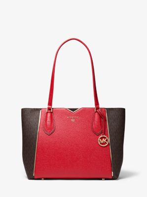 마이클 마이클 코어스 Michael Michael Kors Mae Medium Pebbled Leather and Logo Tote Bag,BRIGHT RED