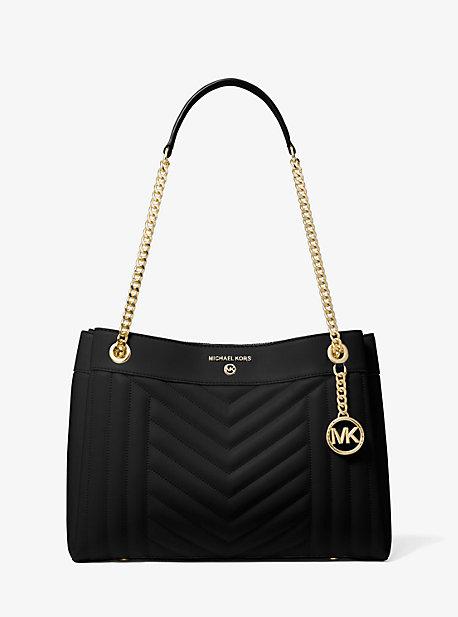 MK Sac porté épaule Susan de taille moyenne en cuir matelassé - NOIR(NOIR) - Michael Kors