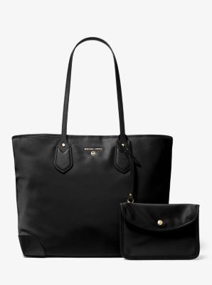 마이클 마이클 코어스 Michael Michael Kors Eva Large Nylon Gabardine Tote Bag,BLACK