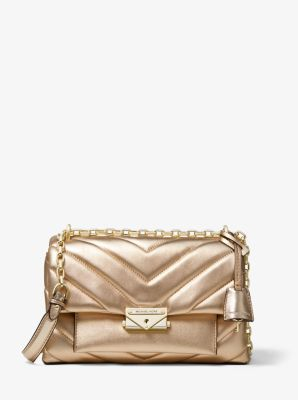마이클 마이클 코어스 퀼팅 숄더백 미디움 Michael Michael Kors Cece Medium Quilted Metallic Leather Convertible Shoulder Bag,PALE GOLD