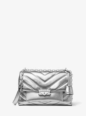 마이클 마이클 코어스 Michael Michael Kors Cece Medium Quilted Metallic Leather Convertible Shoulder Bag,SILVER