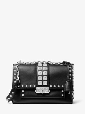 마이클 마이클 코어스 숄더백 미디움 Michael Michael Kors Cece Medium Studded Leather Convertible Shoulder Bag,BLACK