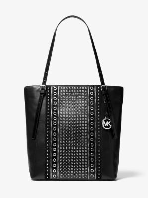 마이클 마이클 코어스 Michael Michael Kors Megan Large Grommeted Leather Tote Bag,BLACK
