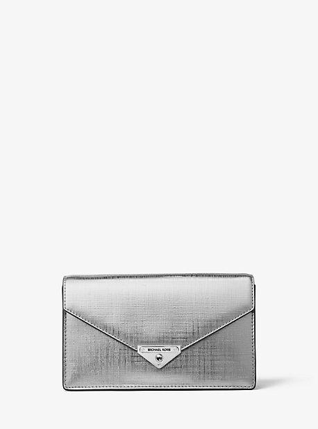 MK Pochette enveloppe Grace en cuir métallisé de taille moyenne - ARGENT(ARGENT) - Michael Kors