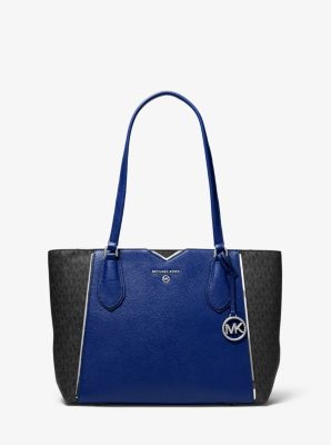 마이클 마이클 코어스 Michael Michael Kors Mae Medium Pebbled Leather and Logo Tote Bag,SAPPHIRE