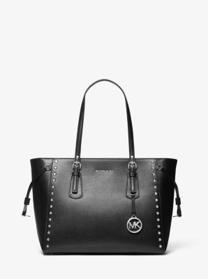 마이클 마이클 코어스 Michael Michael Kors Voyager Medium Crossgrain Leather Tote Bag,BLACK