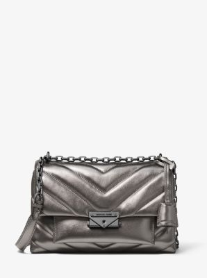 마이클 마이클 코어스 Michael Michael Kors Cece Medium Quilted Metallic Leather Convertible Shoulder Bag,ANTHRACITE