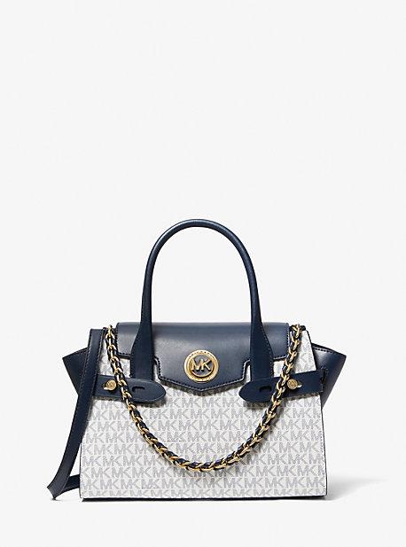 MK Petit sac porté main Carmen en cuir à ceinture et logo - BLEU MARINE/BLANC(BLEU) - Michael Kors