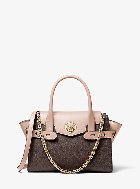 Michael Kors Carmen Small Logo And Leather Belted Satchel In Brown