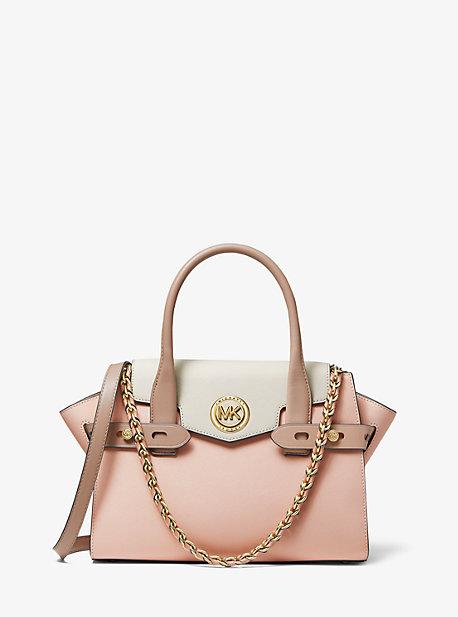 MK Petit sac porté main Carmen en cuir saffiano à couleurs contrastées et ceinture - ROSE DOUX/CRÈME CLAIRE/FAUVE(ROSE) - Michael Kors