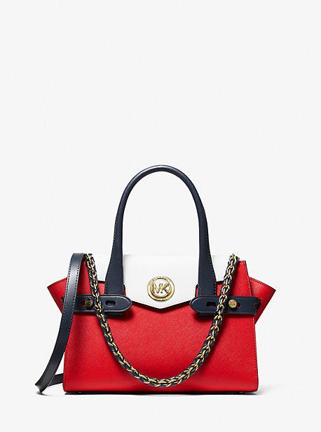 MK Petit sac porté main Carmen en cuir saffiano à couleurs contrastées et ceinture - BRT RED MLTI - Michael Kors