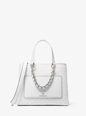 마이클 마이클 코어스 메신저백 스몰 Michael Michael Kors Cece Small Logo Chain Messenger Bag,BRIGHT WHT
