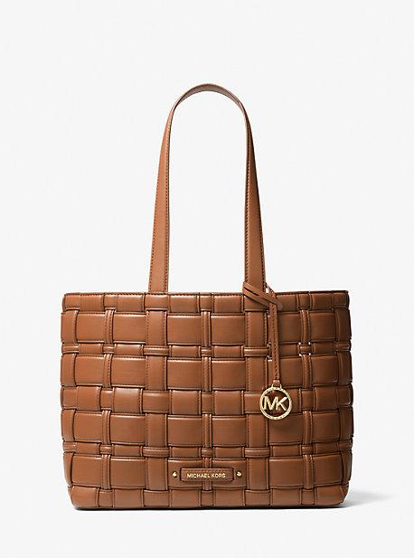 Michael Kors Ivy - Medium Woven Tote Bag In Luggage