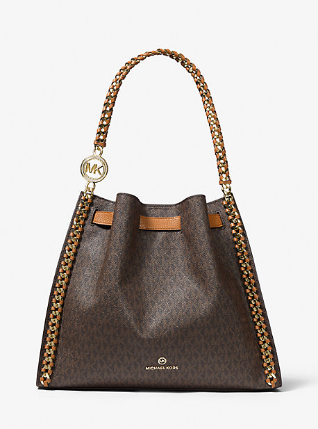 MK Grand sac porté épaule Mina avec logo - MARRON - Michael Kors