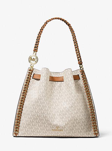 MK Grand sac porté épaule Mina avec logo - VANILLE/NOISETTE(NATUREL) - Michael Kors