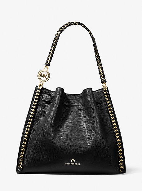 MK Grand sac porté épaule Mina en cuir grainé - NOIR(NOIR) - Michael Kors