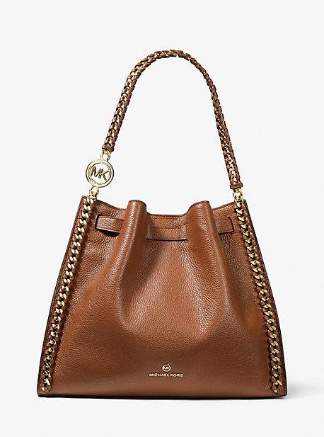 MK Grand sac porté épaule Mina en cuir grainé - VALISE(MARRON) - Michael Kors