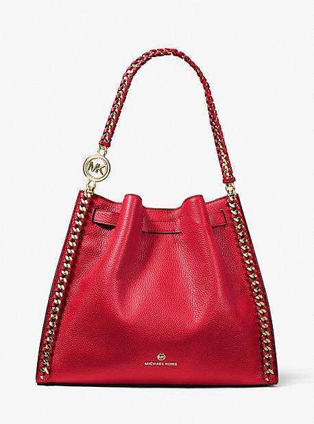 MK Grand sac porté épaule Mina en cuir grainé - ROUGE VIF(ROUGE) - Michael Kors