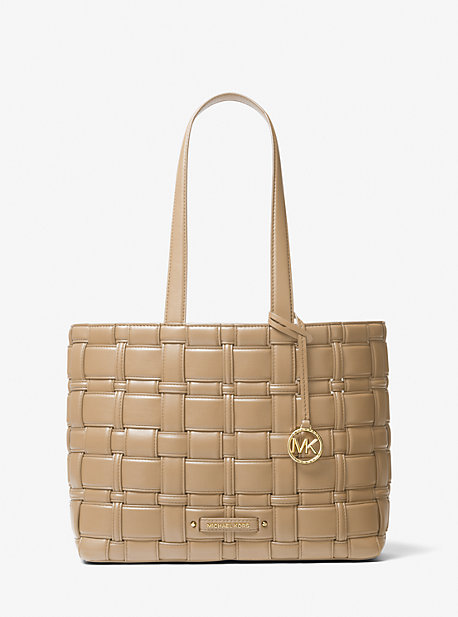 Michael Kors Ivy Medium Woven Tote Bag In Camel
