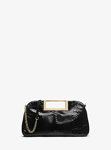 Berkley Large Embossed Patent-Leather Clutch by Michael Kors