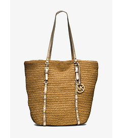 Large Studded Straw Shopper Tote