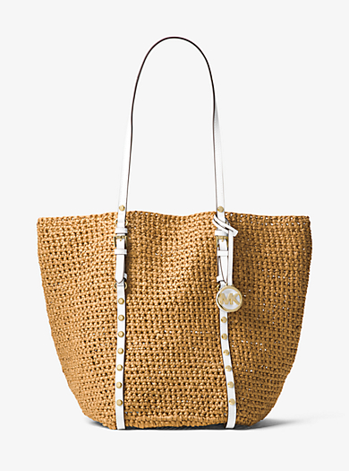 Large Studded Straw Shopper Tote by Michael Kors