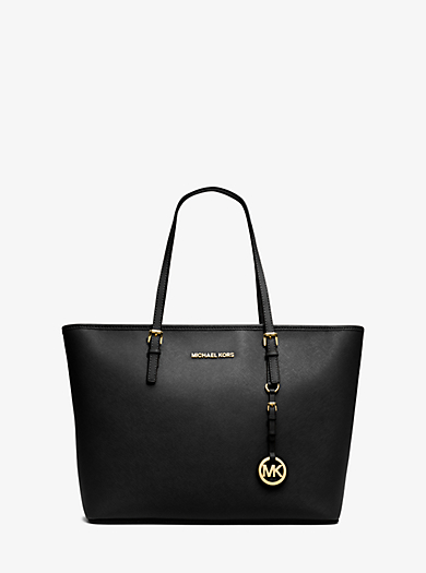 Jet Set Travel Saffiano Leather Top-Zip Tote by Michael Kors