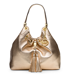 Camden Large Metallic-Leather Drawstring Shoulder Bag