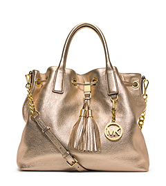 Camden Large Metallic Leather Satchel