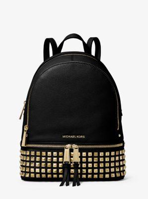 마이클 마이클 코어스 백팩 Michael Michael Kors Rhea Medium Studded Pebbled Leather Backpack,BLACK