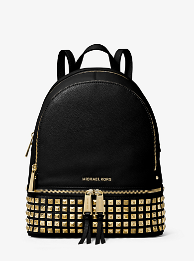 Rhea Small Studded Leather Backpack by Michael Kors