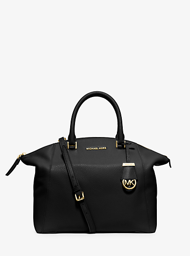 Riley Large Pebbled-Leather Satchel by Michael Kors