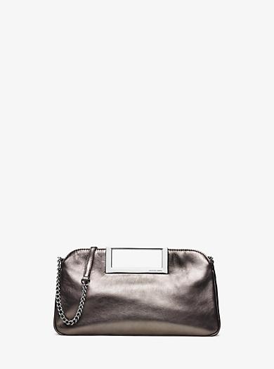 Berkley Large Metallic Leather Clutch by Michael Kors