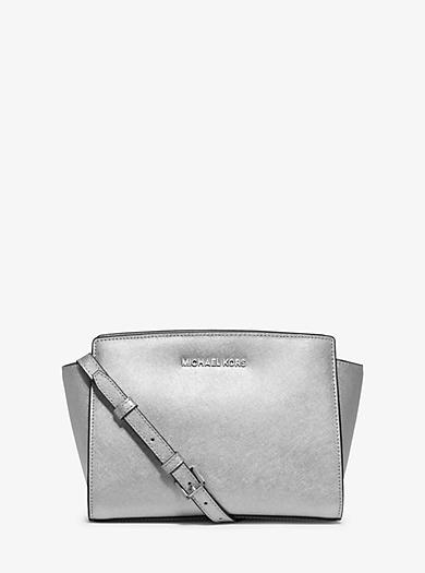 Selma Medium Metallic Leather Messenger by Michael Kors