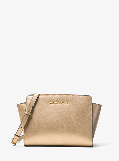 Selma Medium Metallic Leather Messenger by Michael Kors