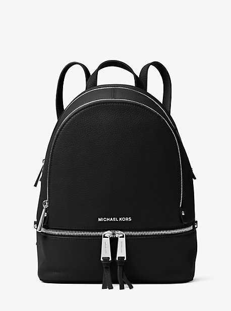 Michael Kors Rhea Medium Leather Backpack In Black