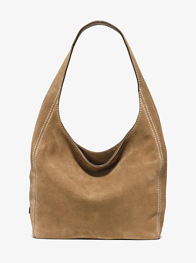 Lena Large Suede Shoulder Bag by Michael Kors