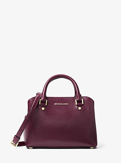 Savannah Small Patent Saffiano Leather Satchel by Michael Kors
