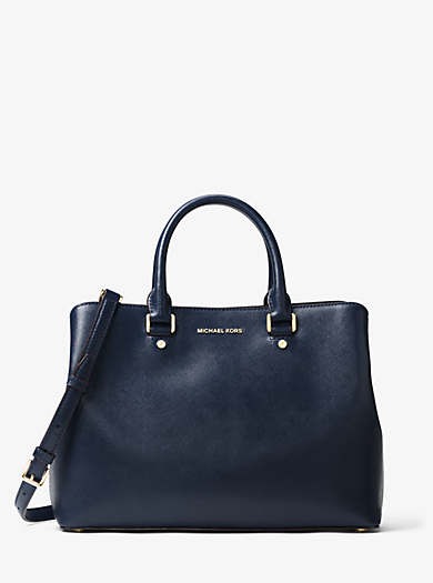Savannah Large Patent Saffiano Leather Satchel by Michael Kors