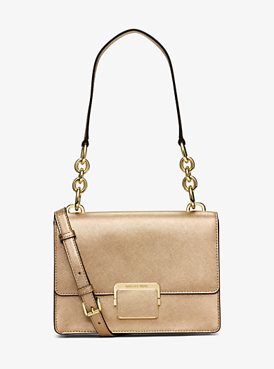 Cynthia Small Metallic-Leather Shoulder Bag by Michael Kors