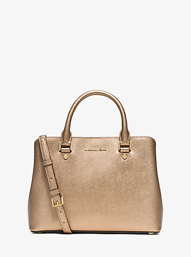 Borsa a mano Savannah media in pelle Saffiano metallizzata by Michael Kors