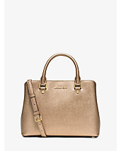 Savannah Medium Metallic Saffiano Leather Satchel