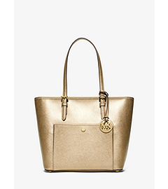 Jet Set Travel Medium Metallic Saffiano Leather Tote  by Michael Kors