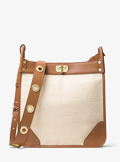Sullivan Large Leather and Linen Messenger by Michael Kors